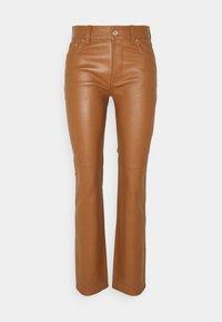 Lauren Ralph Lauren - STRETCH PANT - Leather trousers - brown - 0