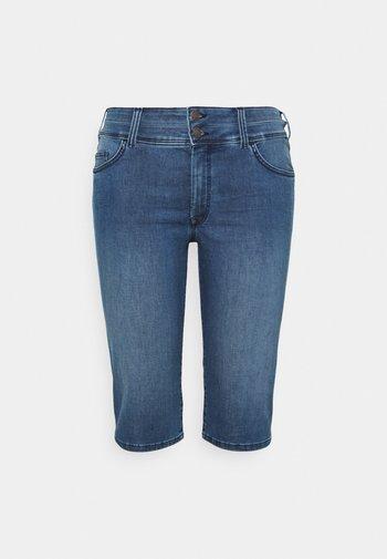 CAPRI - Denim shorts - clean dark stone blue denim