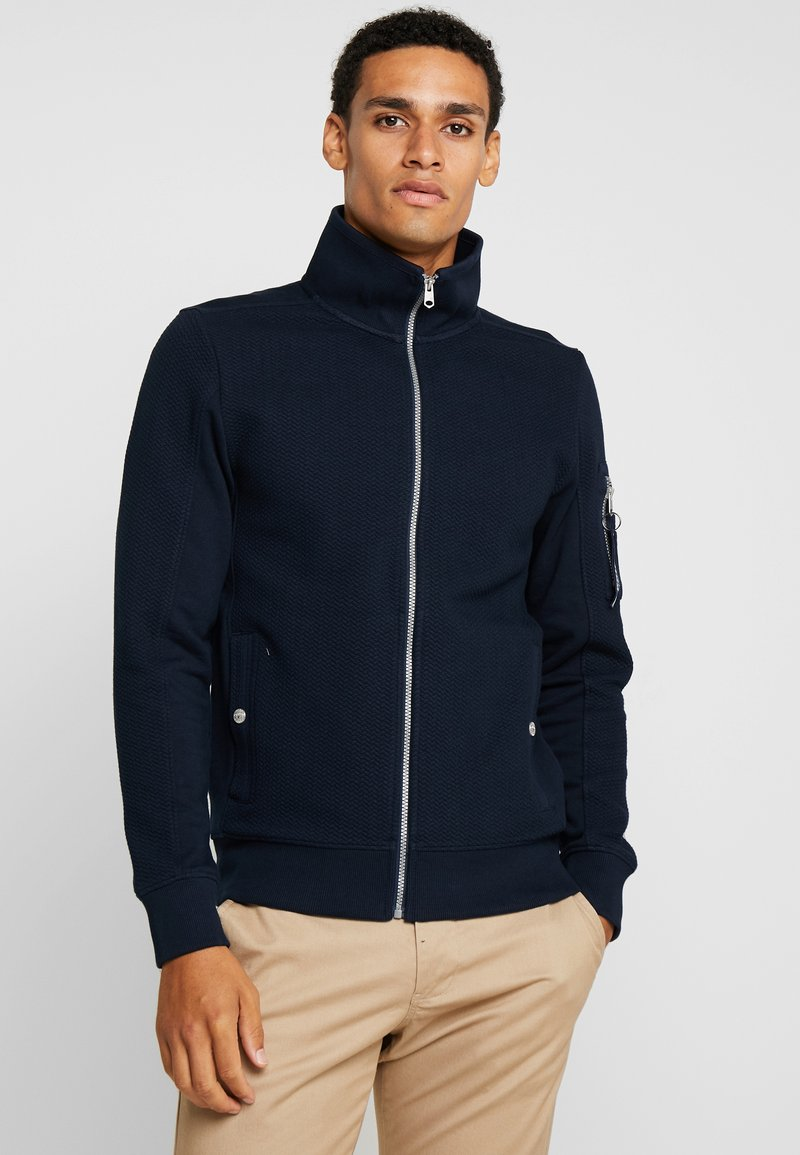 TOM TAILOR - STRUCTURED JACKET WITH DETAILS - Zip-up hoodie - sky captain blue