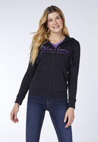 Oklahoma Jeans - REGULAR FIT - Zip-up hoodie - 19-3911 deep black - 0
