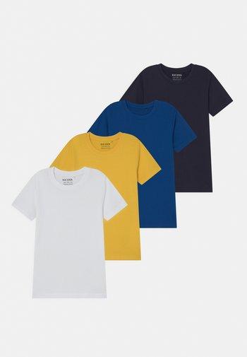 SMALL BOYS 4 PACK - Camiseta estampada - white/blue/yellow/dark blue