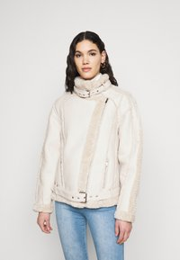 Missguided Tall - PREMIUM BELTED AVIATOR - Faux leather jacket - cream - 0