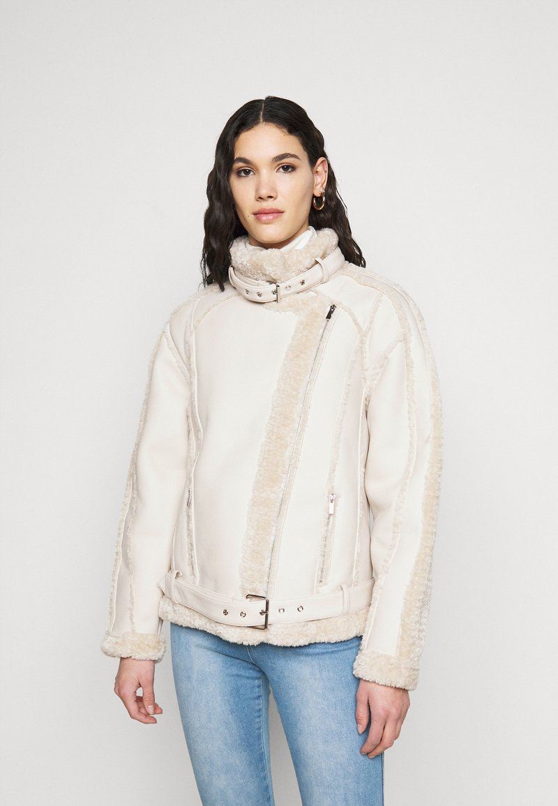 Missguided Tall - PREMIUM BELTED AVIATOR - Faux leather jacket - cream