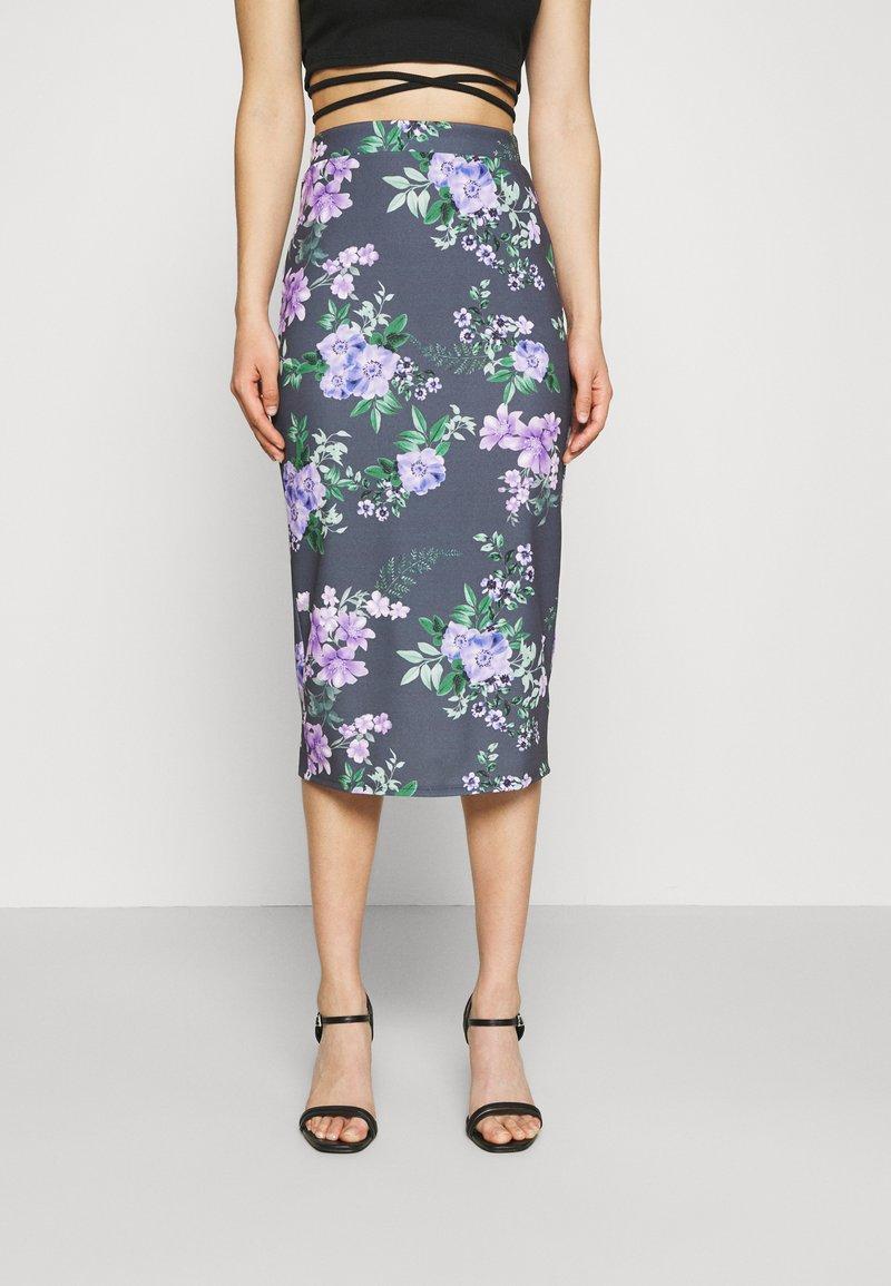 WAL G. - LANCE FLORAL MIDI SKIRT - Pencil skirt - purple