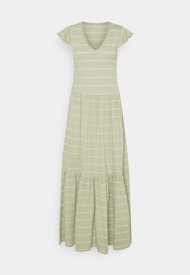ONLMAY LIFE FRILL CALF DRESS - Długa sukienka - desert sage/cloud dancer