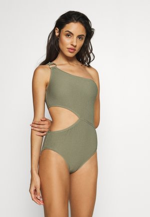DECADENT TEXTURE LOGO RING ONE PIECE - Swimsuit - army green