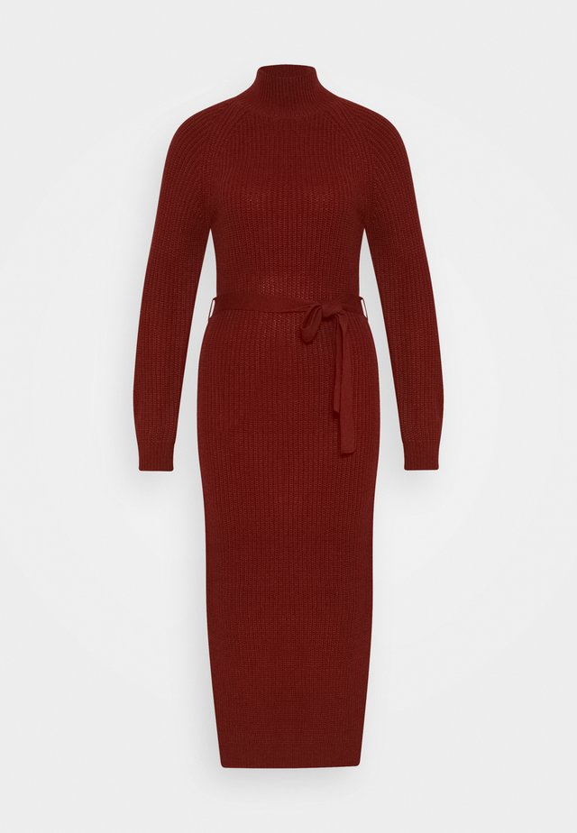 HIGH NECK BELTED MAXI DRESS - Robe pull - burgundy