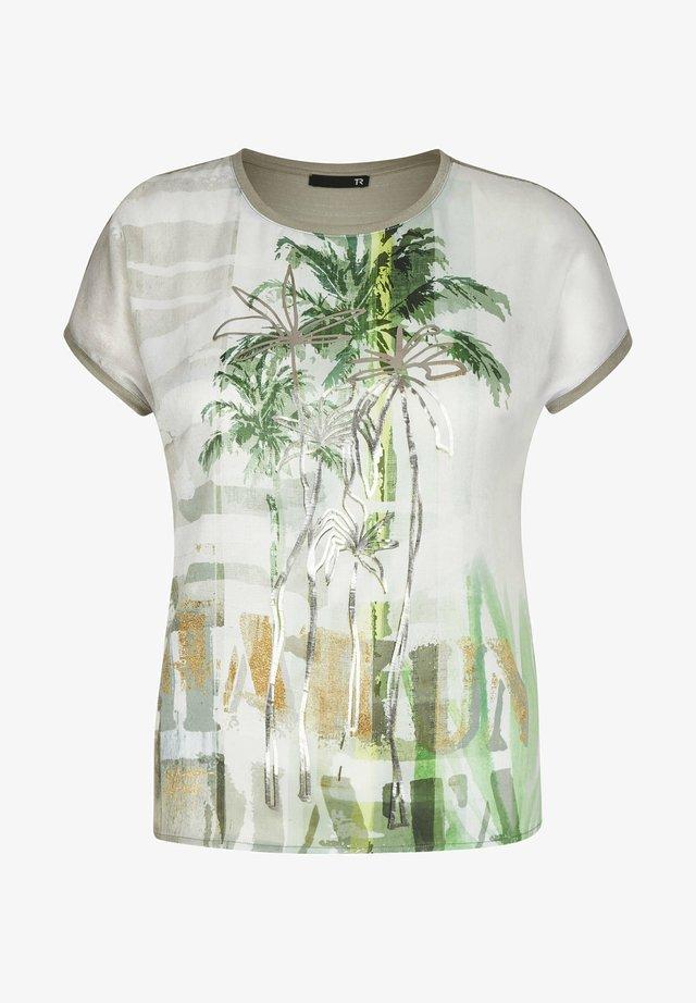 Print T-shirt - oliv