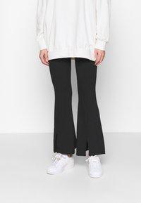 Miss Selfridge - SPLIT FRONT TROUSER - Trousers - black - 0