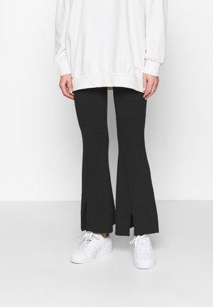 SPLIT FRONT TROUSER - Trousers - black