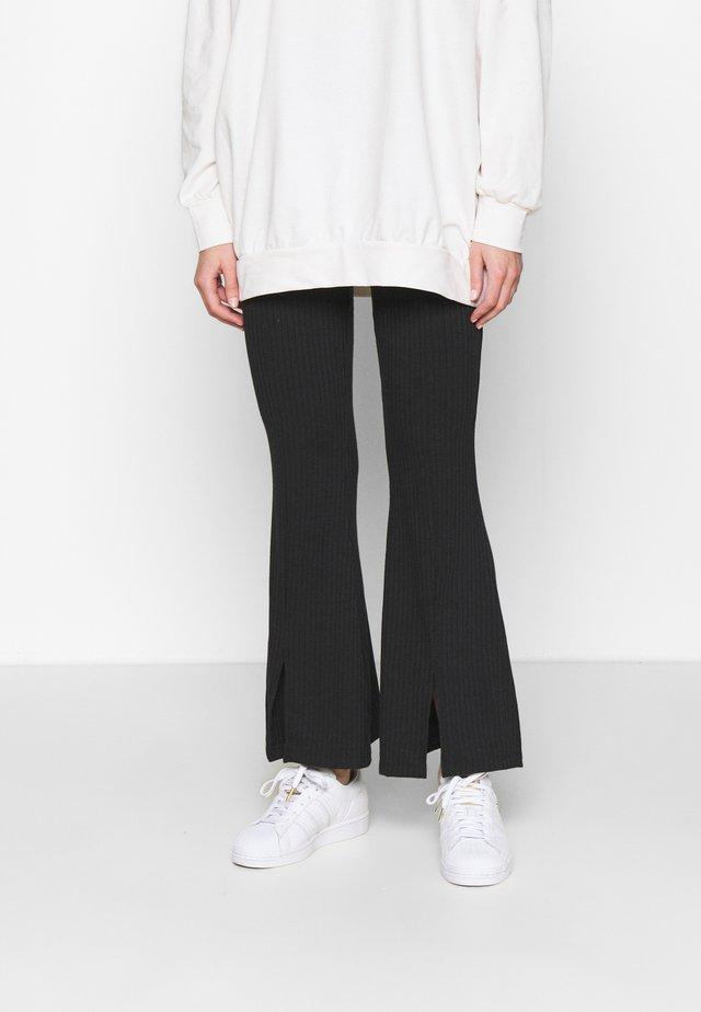 SPLIT FRONT TROUSER - Pantaloni - black