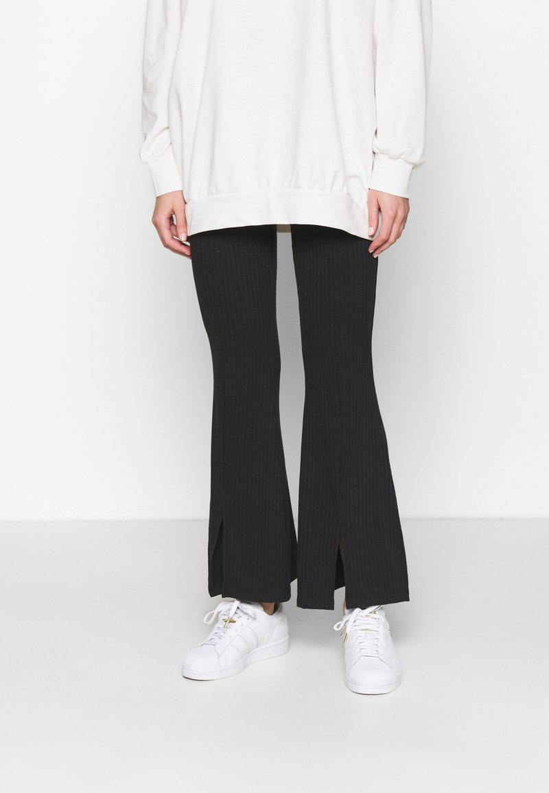 Miss Selfridge - SPLIT FRONT TROUSER - Trousers - black