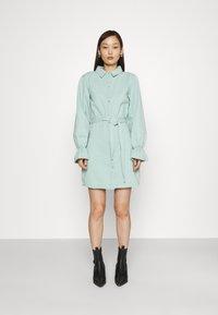 Missguided - FRILL CUFF SHIRT DRESS - Denim dress - sage - 0