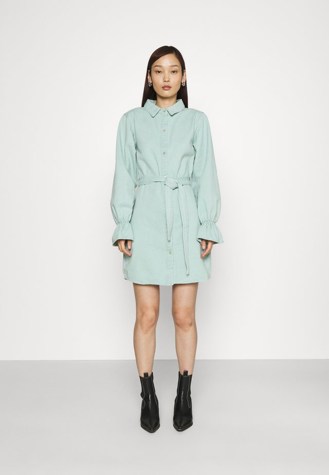 FRILL CUFF SHIRT DRESS - Denimové šaty - sage