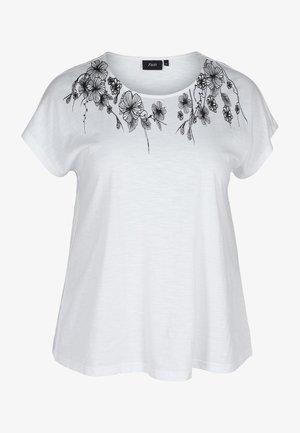 Print T-shirt - bright white flower
