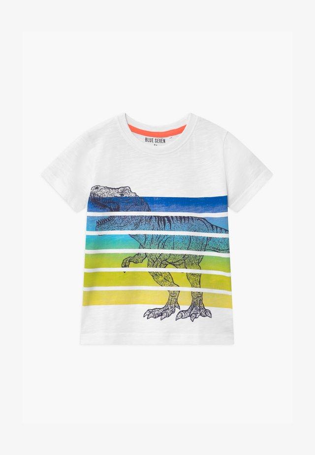 SMALL BOYS T-REX DINOSAUR STRIPE - T-shirt print - weiß