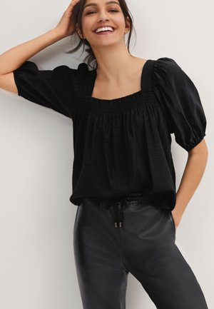 SQUARE NECK PUFF SLEEVE  - Blouse - black