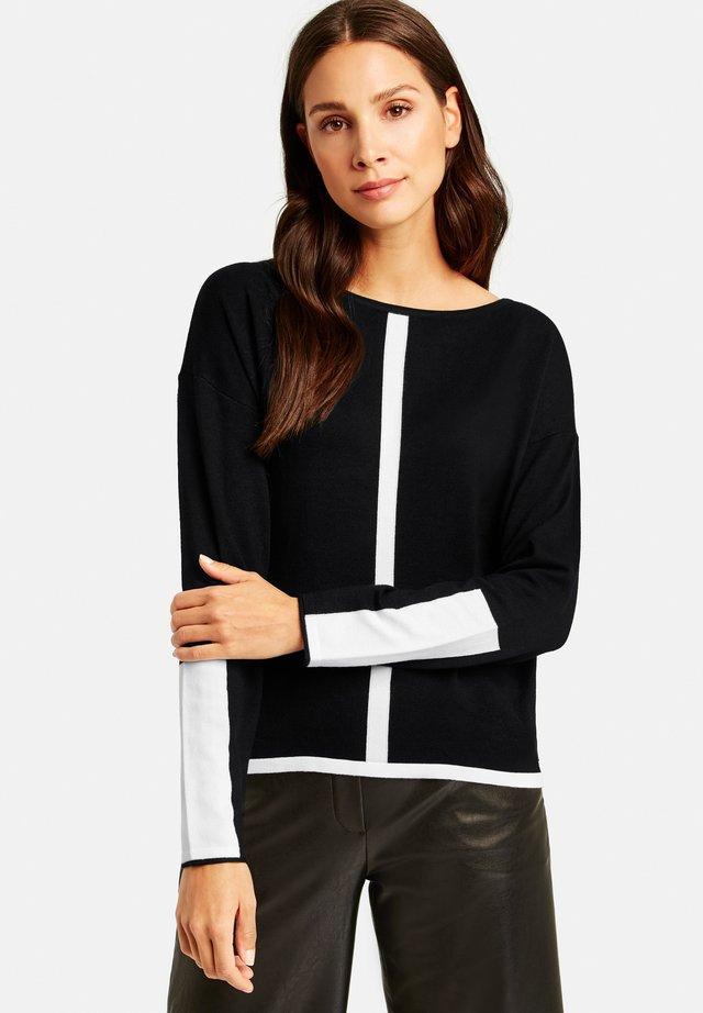 MIT KONTRAST-DETAILS - Sweatshirt - black gemustert