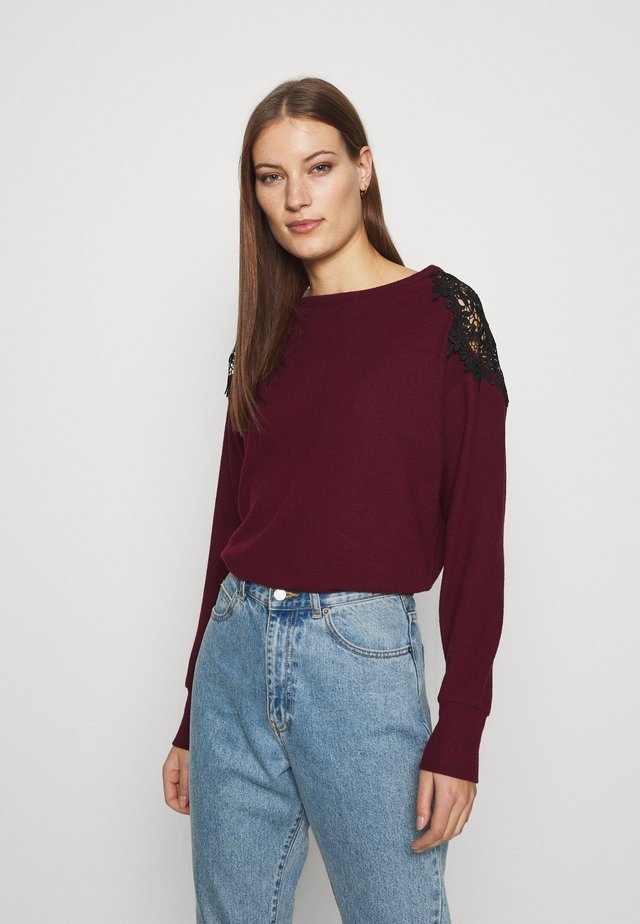 WINE SHOULDER BRUSHED - Jumper - wine