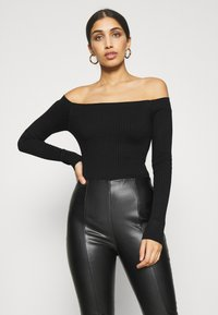 Even&Odd - BODYSUIT- OFF SHOULDER - Jumper - black - 0