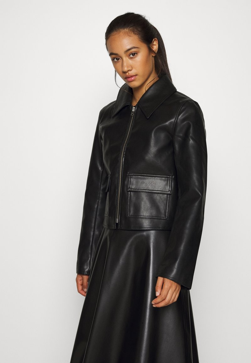 Weekday - TAXI JACKET - Faux leather jacket - black