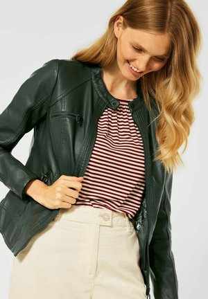 Faux leather jacket - grün