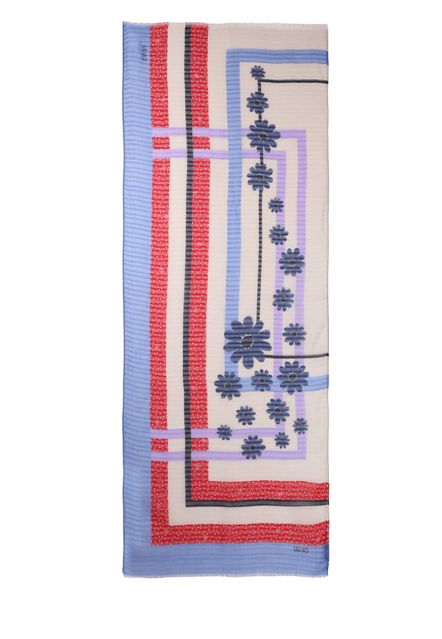 WITH FLOWERS AND POLKA-DOTS - Scarf - light blue