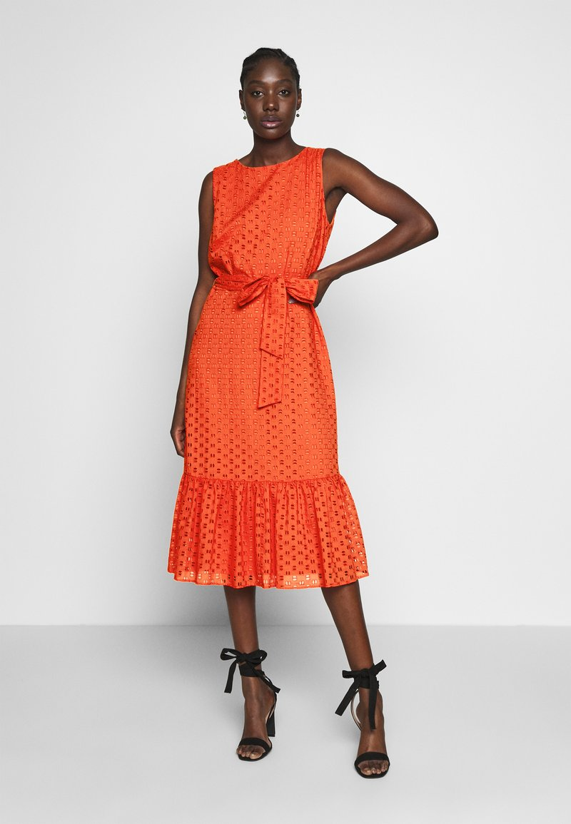 Wallis - BRODERIE TIERED MIDI DRESS - Day dress - red