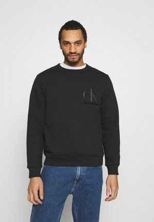 MATTE AND FLOCK MONOGRAM UNISEX - Sweatshirt - black