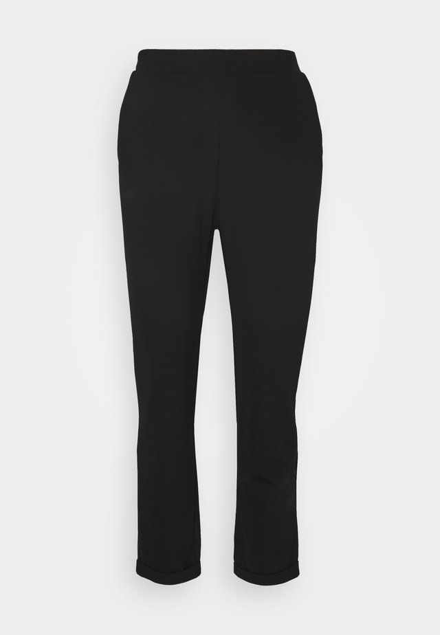 TAPERED TROUSERS WITH TURNED UP HEM - Pantalones - black