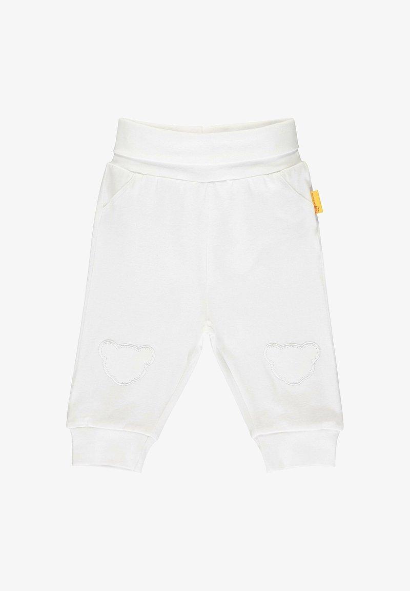 Steiff Collection - STEIFF COLLECTION JOGGINGHOSE MIT TEDDYBÄRFÖRMIGEN KNIESCHONERN - Tracksuit bottoms - bright white