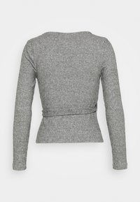 Topshop Petite - BRUSHED BALLET WRAP - Long sleeved top - grey - 1