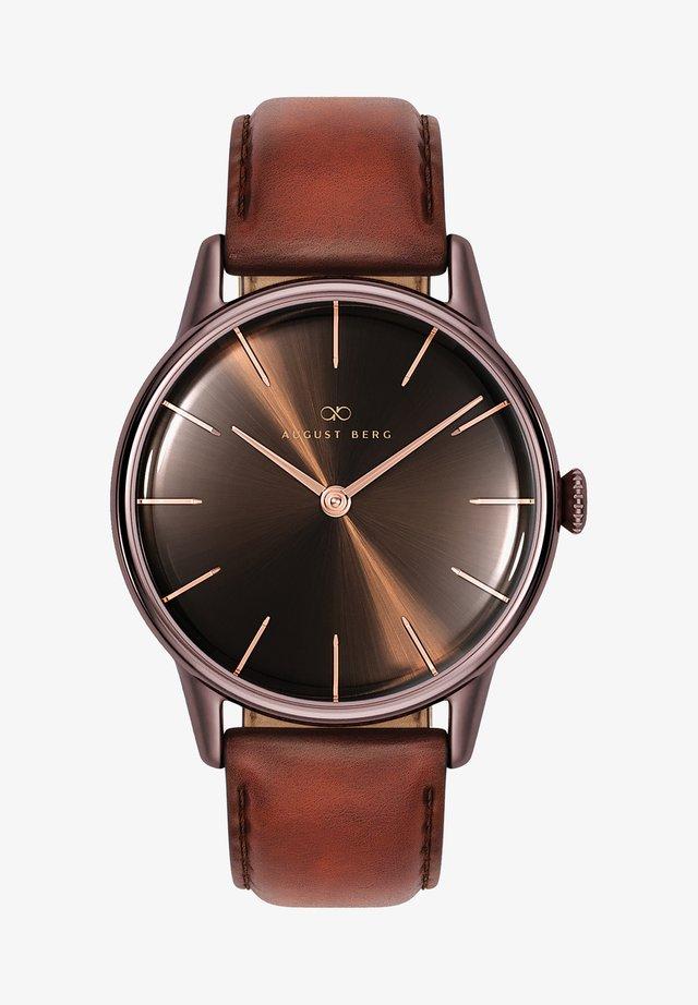 UHR SERENITY CUPPA BROWN DARK BROWN LEATHER 32MM - Horloge - sunray brown