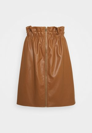 VIJOSEP SHORT ZIPPER SKIRT - Spódnica trapezowa - toffee