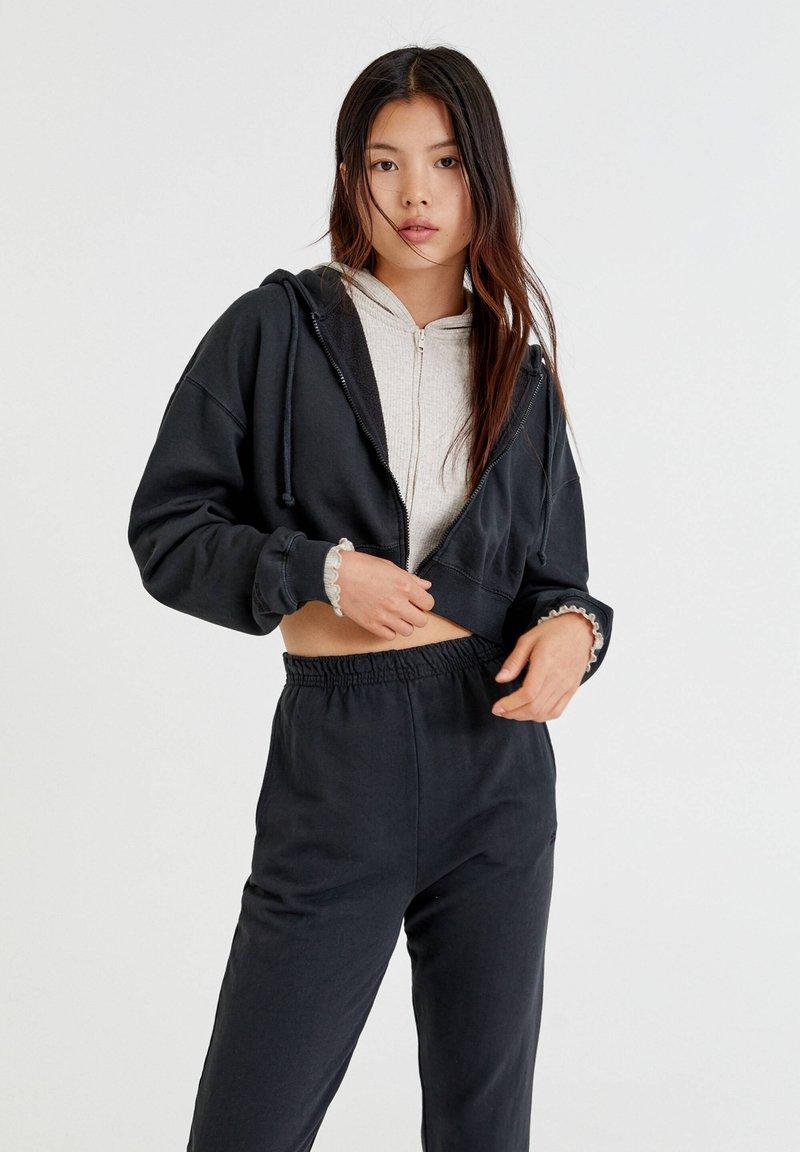PULL&BEAR - BASIC - Zip-up sweatshirt - mottled dark grey