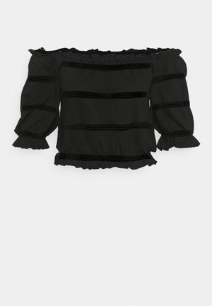 PCTAYLEE CROPPED - T-shirts med print - black