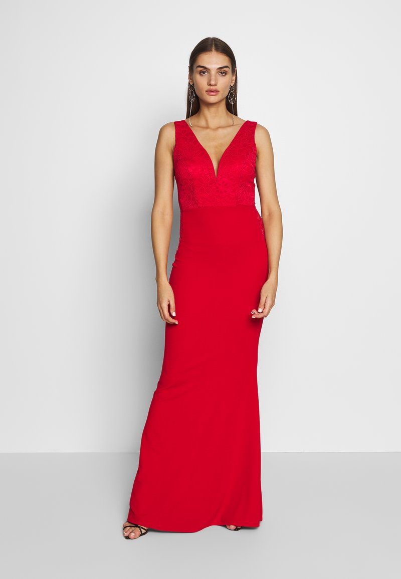 WAL G. - SLEEVLESS VNECK DRESS WITH SIDES - Vestido de fiesta - red