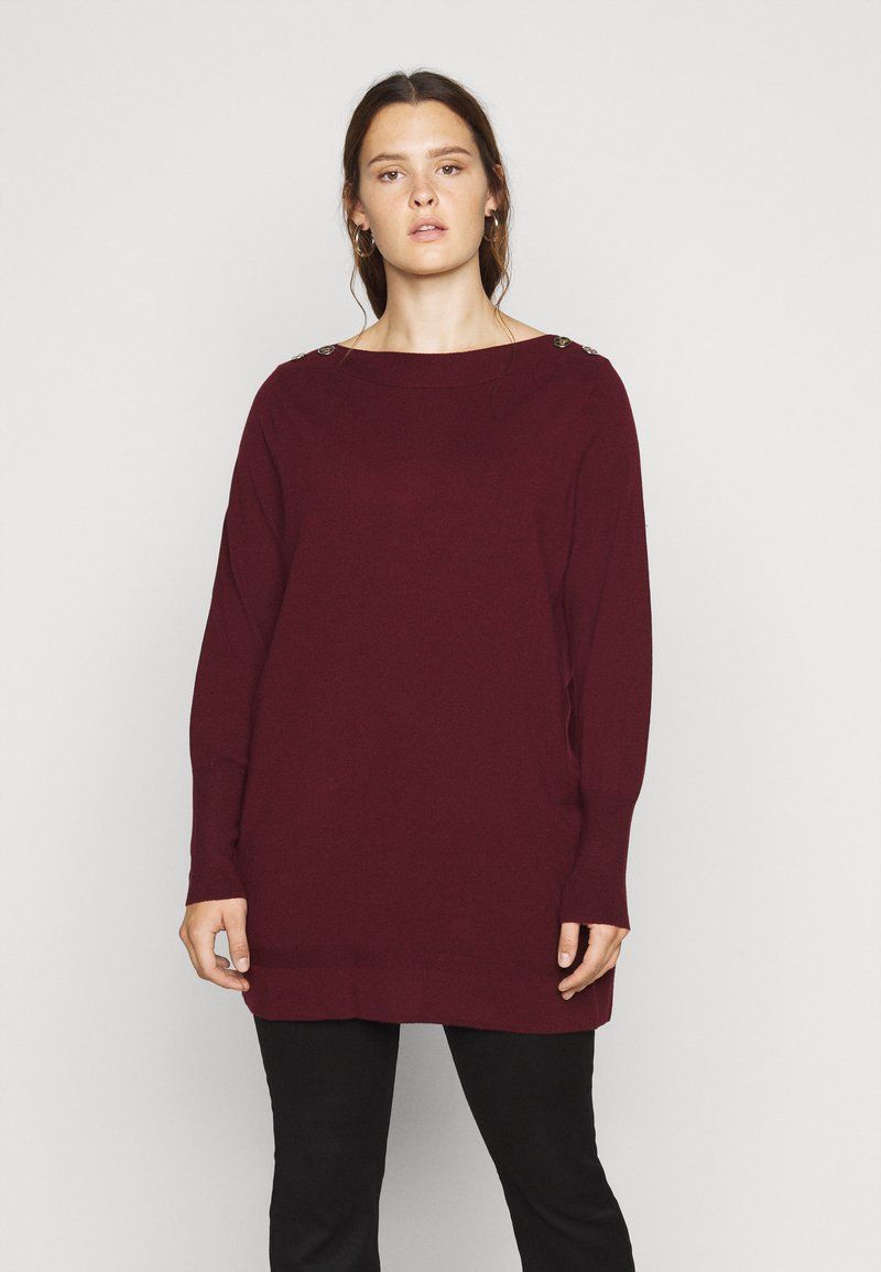 Evans - BERRY BUTTON CUFF TUNIC - Jumper - berry