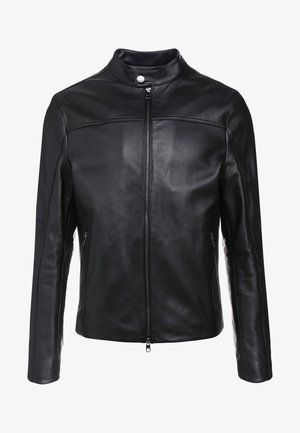BASIC RACER JACKET - Leren jas - black