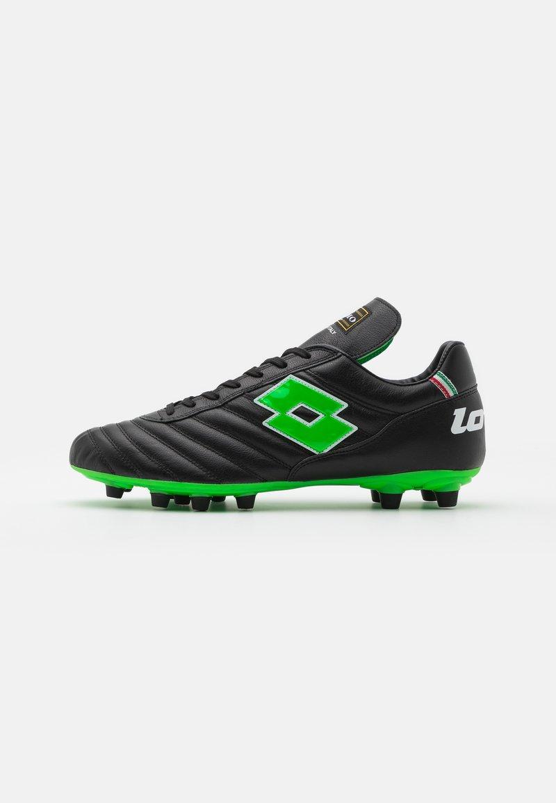 Lotto - STADIO OG II FG - Botas de fútbol con tacos - all black/spring green
