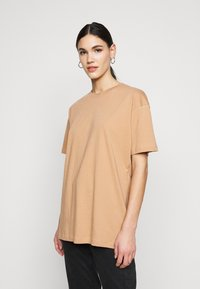 Missguided Tall - LIMEDROP SHOULDER OVERSIZED 2 PACK - Jednoduché triko - black/camel - 0