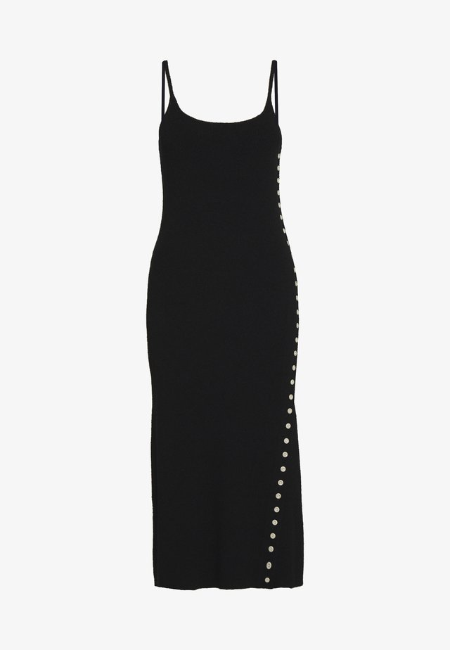 CAMI DRESS WITH BUTTON SLIT PLACKET - Robe pull - black