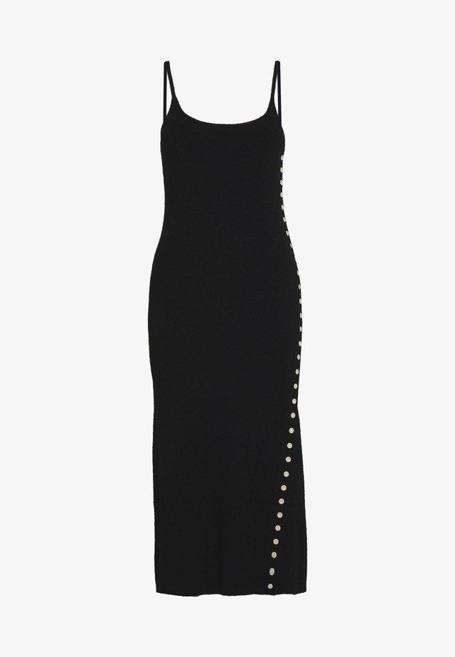 CAMI DRESS WITH BUTTON SLIT PLACKET - Vestido de punto - black