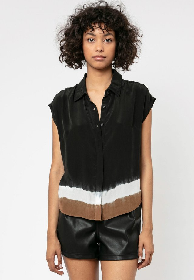 RELIGION NORTH - Button-down blouse - jet black/winter whi