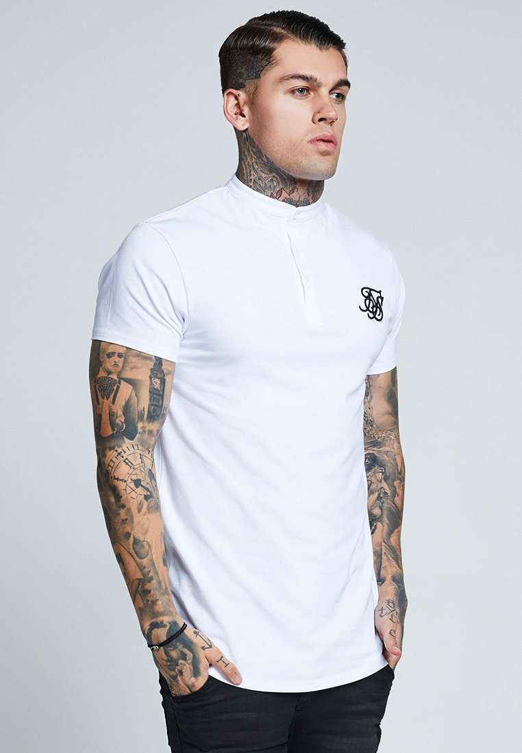 SIKSILK - GRANDAD COLLAR - T-shirt basic - white