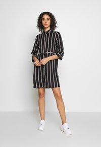 ONLY - ONLTAMARI DRESS - Shirt dress - black/white/camel stripe - 1