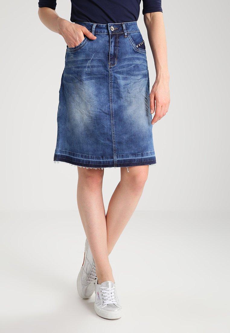 Cream - A-line skirt - rich blue denim