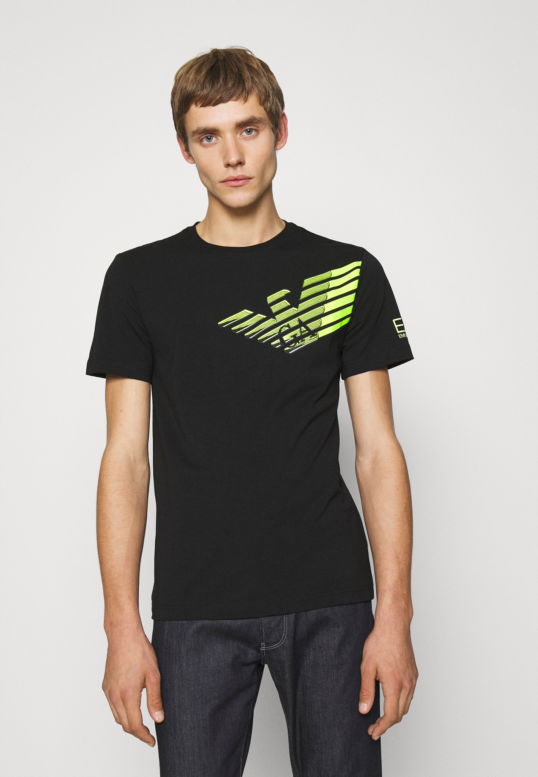 Uomo T-shirt con stampa - black/neon