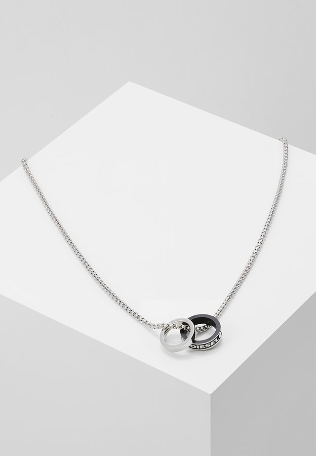 DOUBLE PENDANT - Necklace - black/silver-coloured