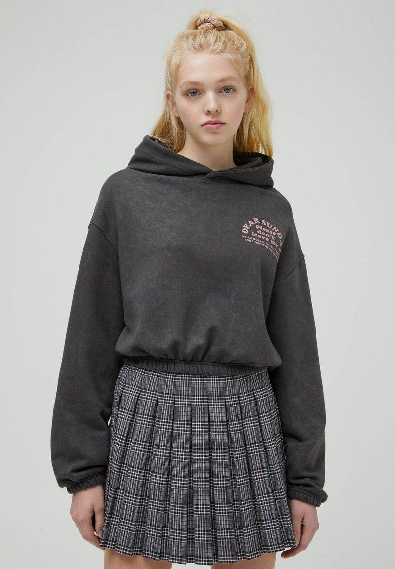 PULL&BEAR - Mikina skapucí - mottled dark grey